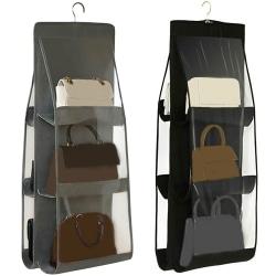 6 Pockets Hanging Handbag Organizer Black