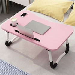 Adjustable Laptop Desk Foldable Study Computer Bed Table Stand Pink