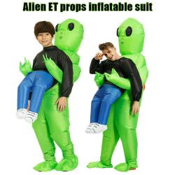 Adult Children Halloween Monster Green Alien Carrying Human Green - Child