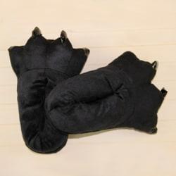 Adult Kids Animal Monster Feet Slippers Plush Shoes Black M(Adult)