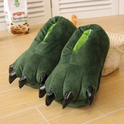 Adult Kids Animal Monster Feet Slippers Plush Shoes Green M(Adult)