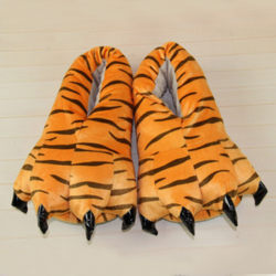 Adult Kids Animal Monster Feet Slippers Plush Shoes Tiger M(Adult)