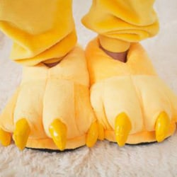 Adult Kids Animal Monster Feet Slippers Plush Shoes Yellow M(Adult)