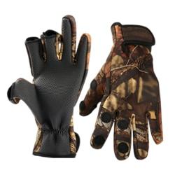 Adult Neoprene Camo Gloves Fishing Hunting Outdoor Shooting Camo L