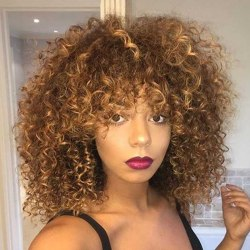 Africa Curly Fluffy Stylish Wigs Golden