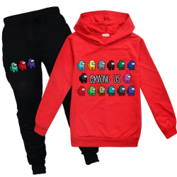 Among Us Crewmate Impostor Game Kid Hoodie Jumper Tracksuit Set Red 130
