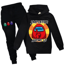 Among Us Kids Baby Boys Girl Hooded Hoodie Tracksuit Pants Set Black 140