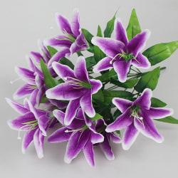 Artificial Flowers Silk Lilies 10 Heads Fake Bouquet Home Decor Purple 2 PCS