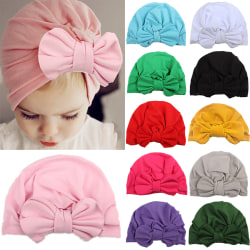 Baby Turban Cotton Solid Color Indian Hat Yellow