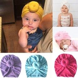Baby Turban Hats Bun Knot Newborn Infant black