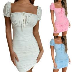 Bandage Straps Kvinnor France Pleated Dress Pink L