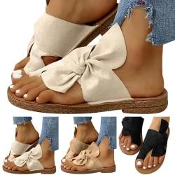 Beauty Bowknot Round Toe Slip Sandals White 39