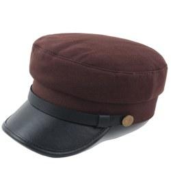Boat Captain Men's Sailor Hats Cap Flat Soldier Outdoor Brown