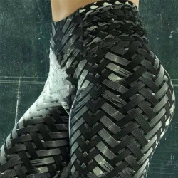 Braided Print High Waist Yoga Workout Leggings Black XL