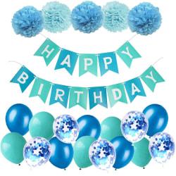 Brirthday Ballons Cellebrate Paper Flower Ball Födelsedagsset Blue