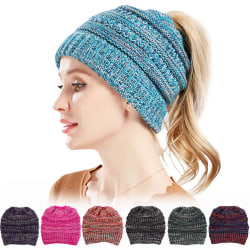 Cable Knit Beanie Winter Hat for Women Warm Horsetail Hats Navy Blue