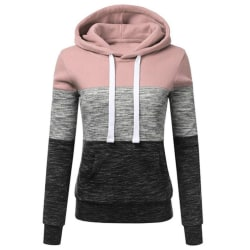 Casual Color Matching Drawstring Hoodie pink M