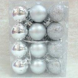 Christmas Ball Ornaments for Xmas Tree Decorations Hanging Ball Silver 24pcs