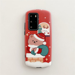 Christmas Bear Mobile Phone Case Shells for Huawei P40pro P30pro Red P30