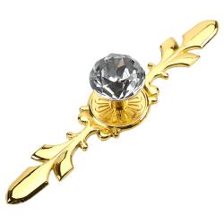 Crystal Diamond Glass Pull Handle Door Knobs Drawer Golden Big