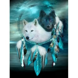 Dream Catcher Double Wolf Diamond Painting Praying Women Dream 30*40cm