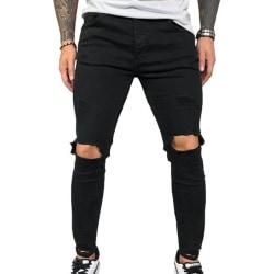 Elastic Skinny Jeans Men Hole Denim Pants
