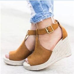 Europe Leopard Women Summer Wedge Sandals Vintage brown 43