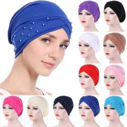 Fashion Women Front Cross Rivet Headscarf royal blue 1pcs