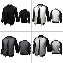 Fashion Men Autumn Winter Patchwork Coat Slim white M