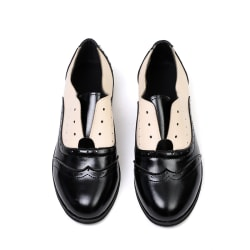 Fashion Women Round Toe Leather Oxfords Ankle black 36