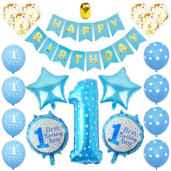 First 1st Birthday Number 1 Baby Kids Balloons Set Blue
