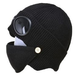 Fleece Winter Mössor + Mask + Skyddsglasögon Ski Warm Set Black
