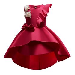 Girl Princess Piano Performance Outfit Bowkont Ruffle Tutu Dress Wine red 104