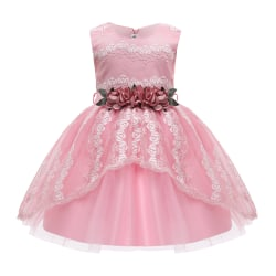 Girls Sleeveless Lace Cocktail Princess Party Formal Tutu Dress Pink 104