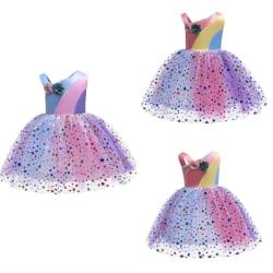 Girls Summer Rainbow Mesh Patchwork Princess Dress pink&purple 5-6Years