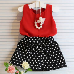 Flickor Sommarväst Plisserad Fritidskläder Klänning 100cm