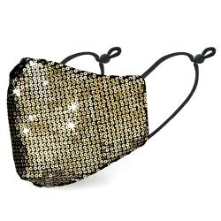 Glitter tyg-läge tvättbar återanvändbar mask Gold