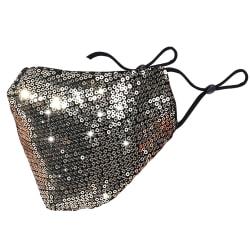 Glitter Fabric Fashion Washable Reusable Mask Silver