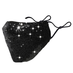 Glitter Fabric Fashion Washable Reusable Mask Black
