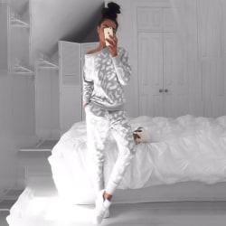 Grey Zebra Print Fashion Tracksuit Home Outfits Grey S