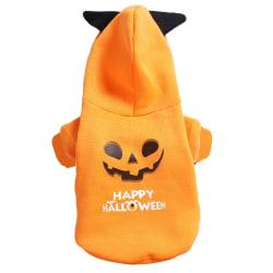 Halloween Pet Clothes Puppy Dog Cat Fancy Costume Pumpkin Design Yellow L