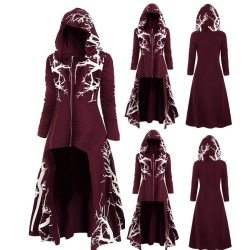 Halloween Women Irregular Cloak Hooded Floral Coat Jacktes Wine Red 3XL