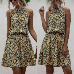Halter Neck Kvinnor A-line Print Dress Yellow M