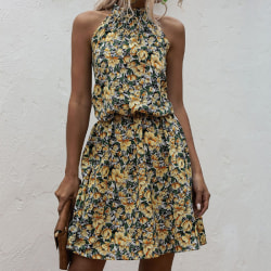 Halter Neck Kvinnor A-line Print Dress Yellow M