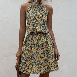 Halter Neck Kvinnor A-line Print Dress Yellow S