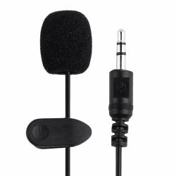 Mini Wired Clip-on Lapel Microphone Cable Black