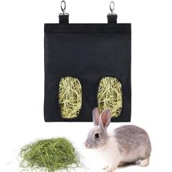 Hängande tyg hö matarväska kanin kanin litet husdjur Black