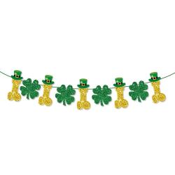 Irish Festival Decor Banner Swallowtail Flag St Patrick's Day Clover