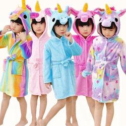 Kids Bath Robe Animal Unicorn Pajamas Night Wear Star 3-4Years