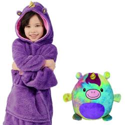 Kids Cartoon Cute Soft Funny Sweater Cuddly Pet Turn to A Hoodie Purple